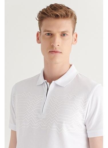 Avva AVVA Erkek Saks Polo Yaka Yarım Fermuarlı Baskılı T-Shirt A11Y1152 Beyaz